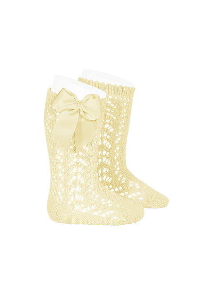 Open woven knee socks with bow Pastel yellow