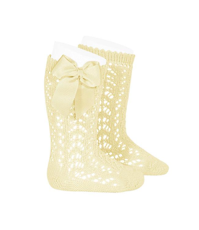 CONDOR  CONDOR | Open woven knee socks with bow Pastel yellow