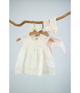 PURETE DU BEBE Ivory linen dress with beautiful floral border