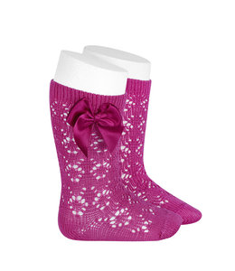 CONDOR  Open weave knee highs with satin bow FUSHIA