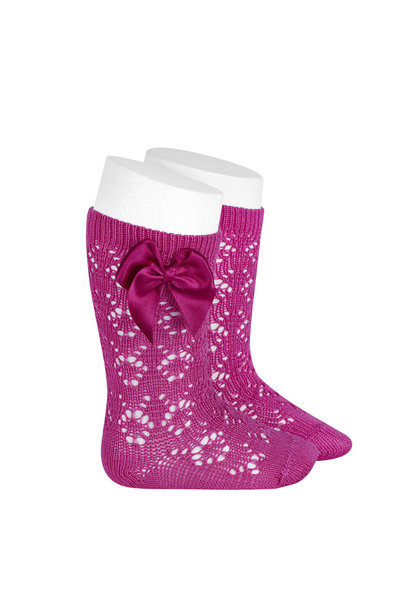 Open weave knee highs with satin bow FUSHIA