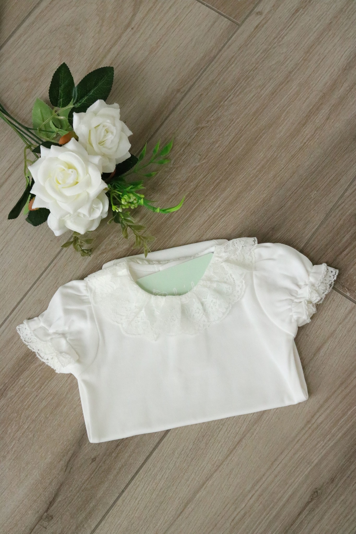 White Body with full lace collar and short sleeves-1