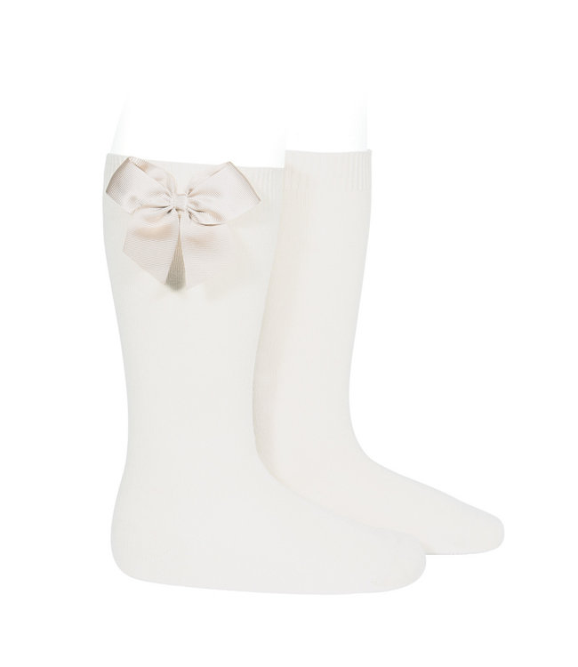 CONDOR  CONDOR | Knee socks with bow off white