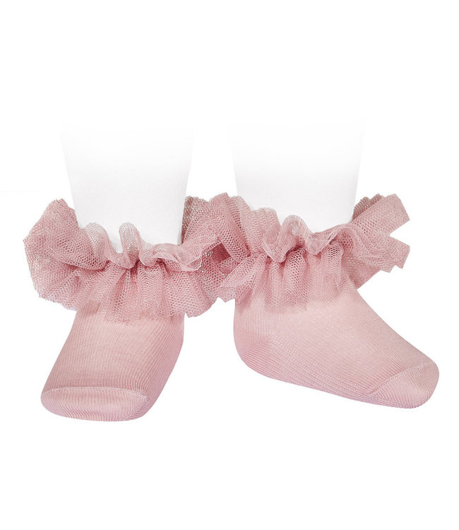 CONDOR  CONDOR |Ankle socks with tulle Old pink