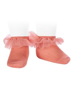 CONDOR  Ankle socks with tulle PEACH