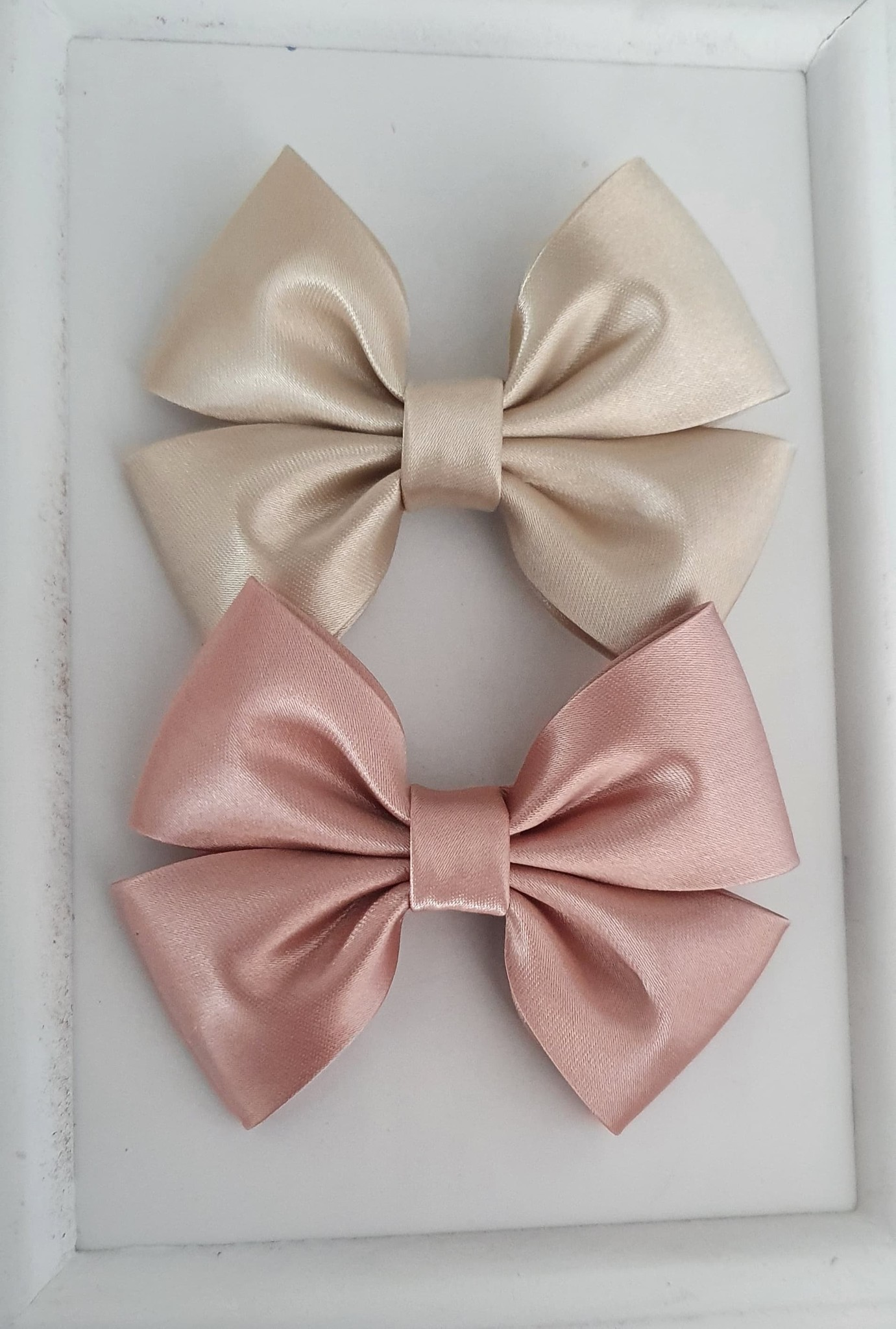 Satin bow OLD PINK-1