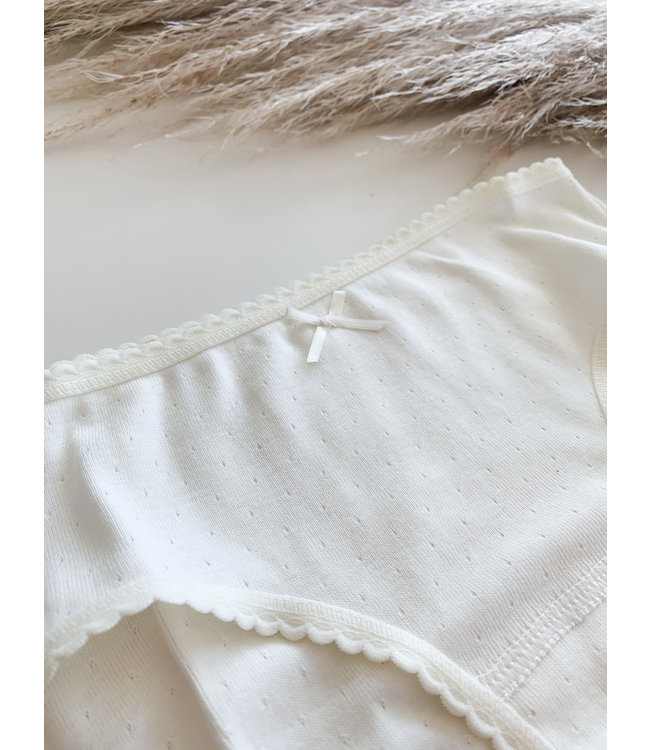 BABIDU Creme klassiek onderbroekje met strikje