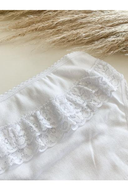 Wit onderbroekje met ruffles