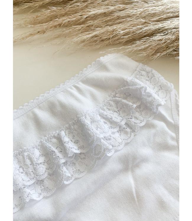 BABIDU Wit onderbroekje met ruffles