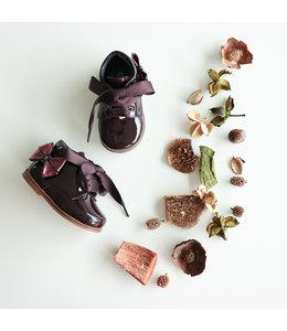 Bordeaux shoe with metallic bow