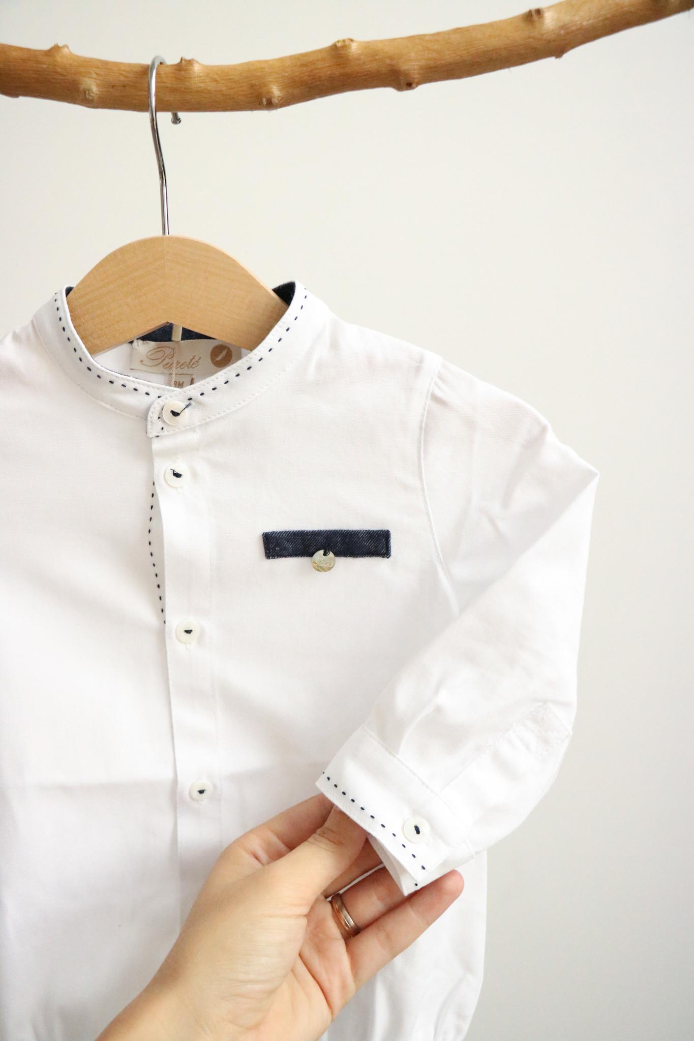 Wit bodyhemdje met jeansblauw detail-3