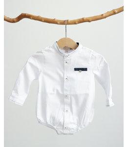 PURETE DU BEBE Wit bodyhemdje met jeansblauw detail