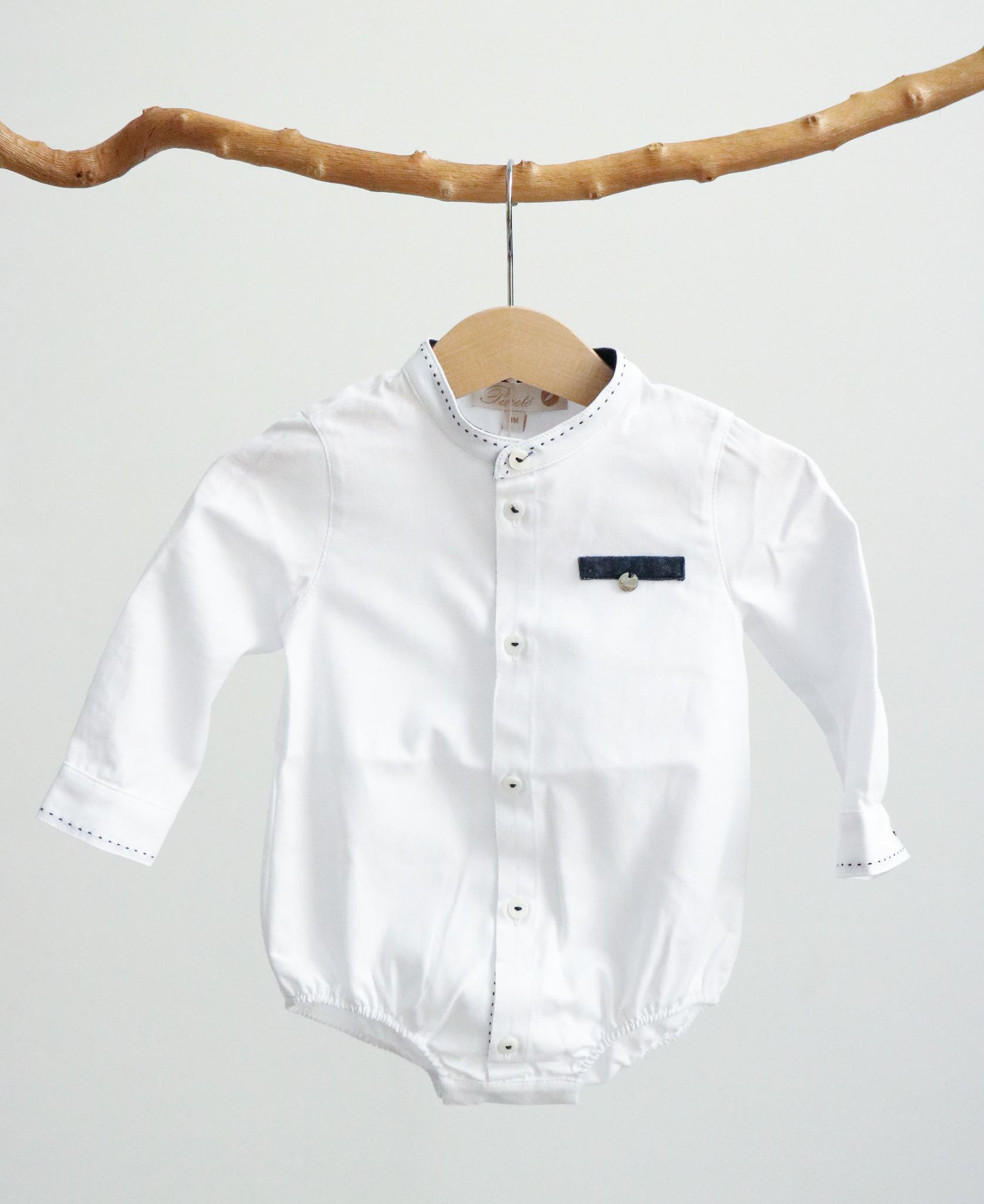 Wit bodyhemdje met jeansblauw detail-1