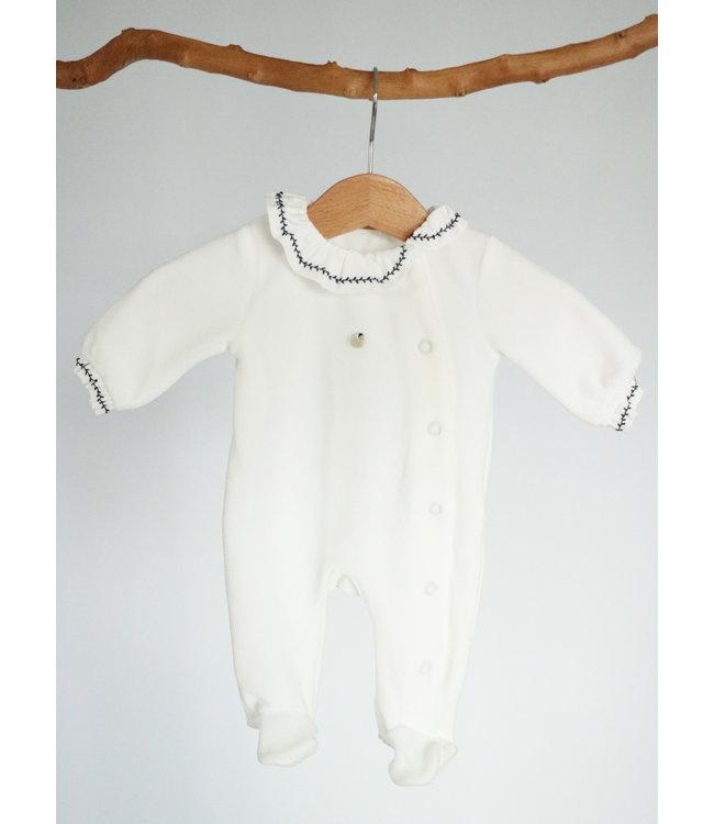 PURETE DU BEBE Wit velvet pyjama met blauwe detailafwerking