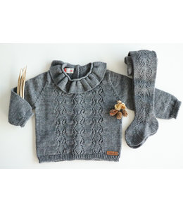 CONDOR  Openwork sweater with heart motif GREY