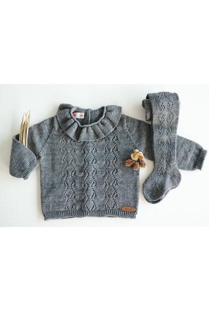 Opengewerkte sweater met hartjesmotief GRIJS
