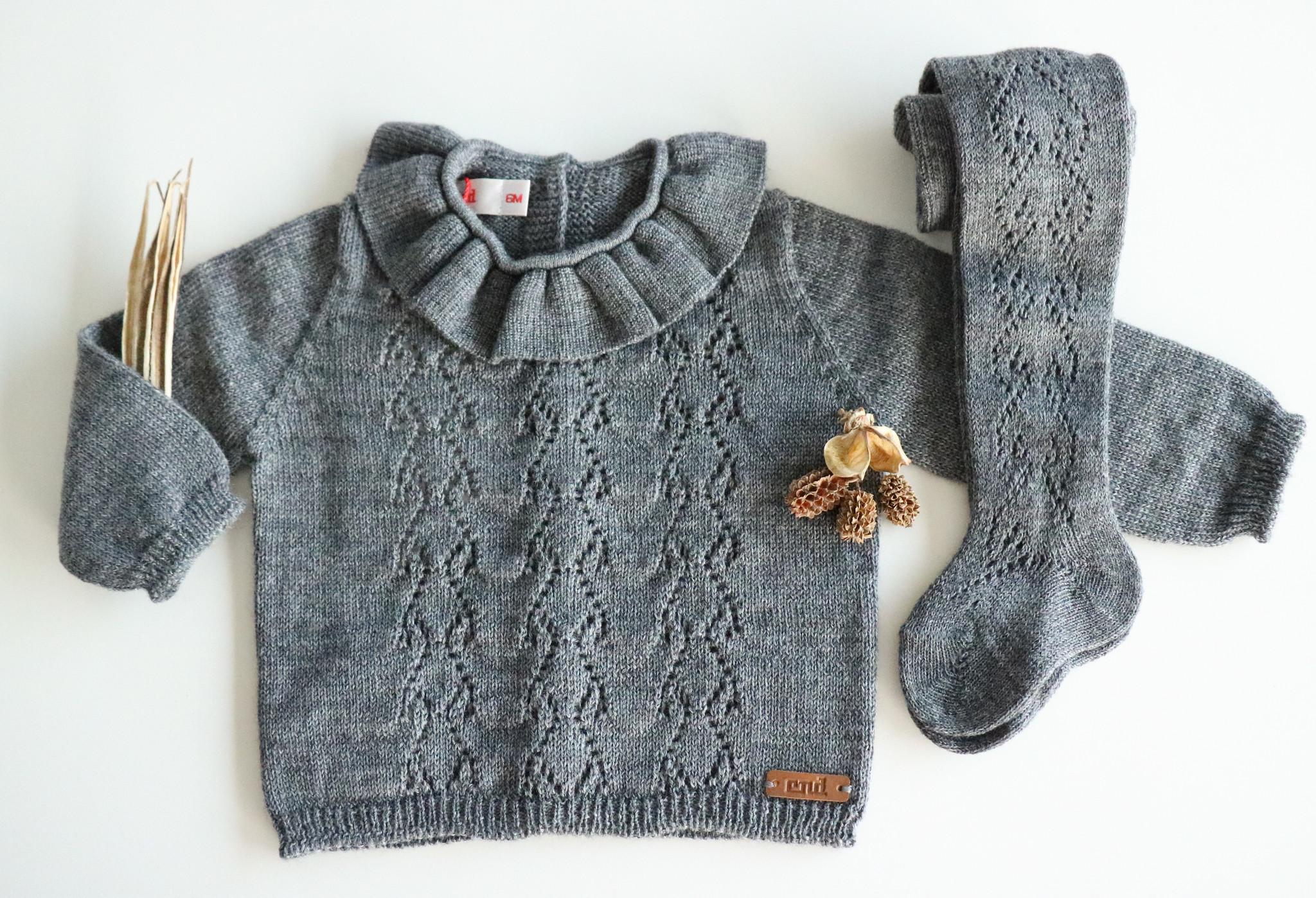 Opengewerkte sweater met hartjesmotief GRIJS-1