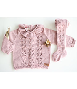 CONDOR  Openwork sweater with heart motif Rosa Palo