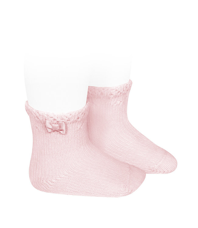 CONDOR  BABY SHORT SOCKS WITH OPENWORK CUFF AND SMALL BOW PINK
