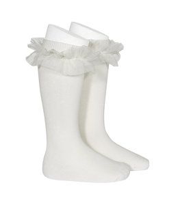 CONDOR  Kniekous met tulle Off White