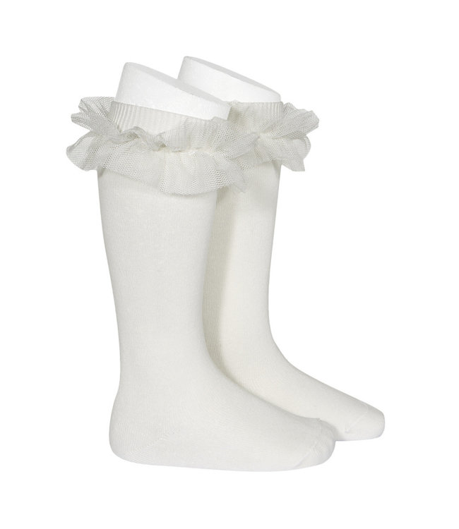 CONDOR  Knee socks with tulle Off White