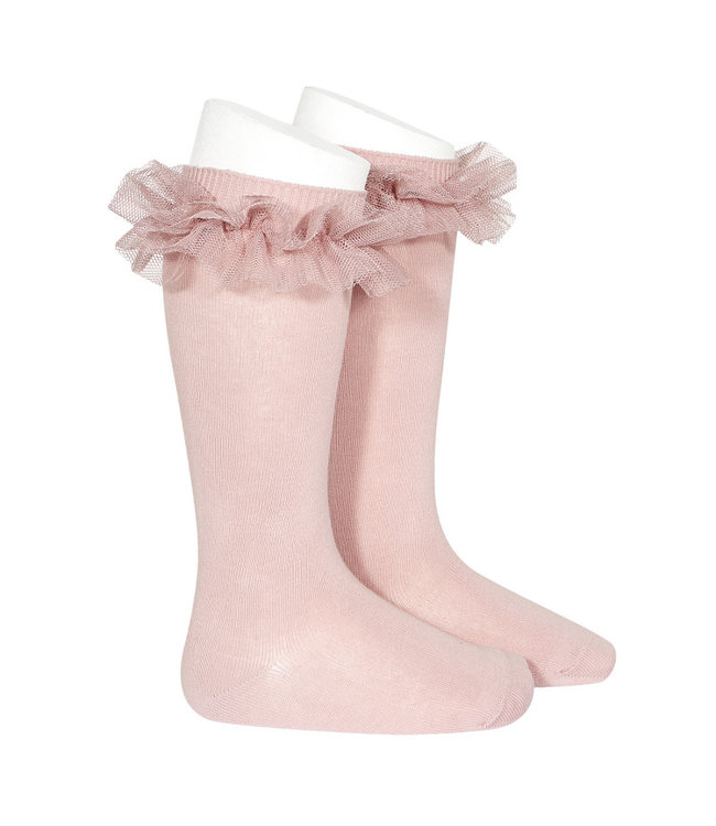 CONDOR  Knee socks with tulle ROSA PALO