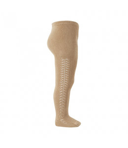 CONDOR  Stockings with herringbone on the side CAMEL