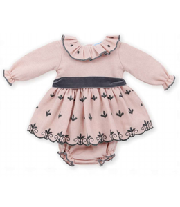 MAC ILUSION Pink dress with dark gray details and bow With matching bloomer