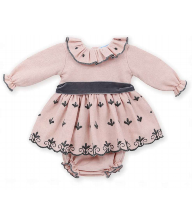 MAC ILUSION MAC ILUSION | Pink dress with dark gray details and bow with matching bloomer