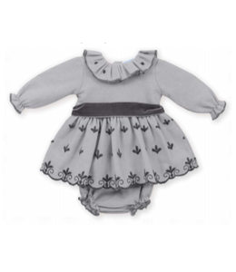 MAC ILUSION Gray dress with dark gray details and bow With matching bloomer