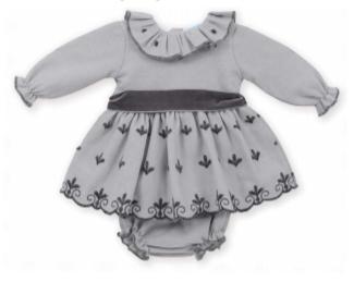 MAC ILUSION | Grijze jurk met donkergrijze details en strik Met bijhorende bloomer-1