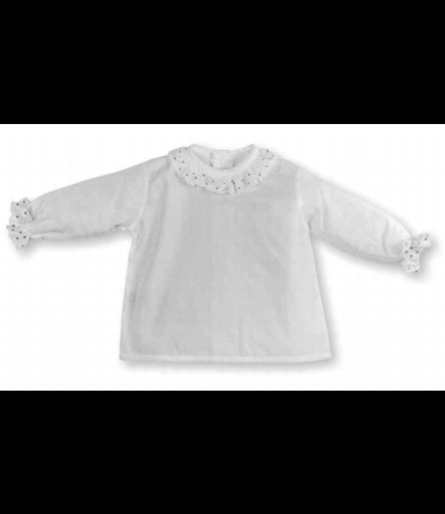 MAC ILUSION White blouse with transparent collar