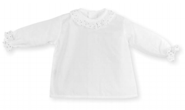 Wit bloesje met doorzichtig kraagje-1