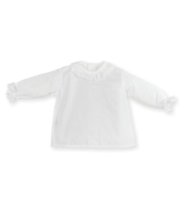 MAC ILUSION White blouse with transparent collar and golden details