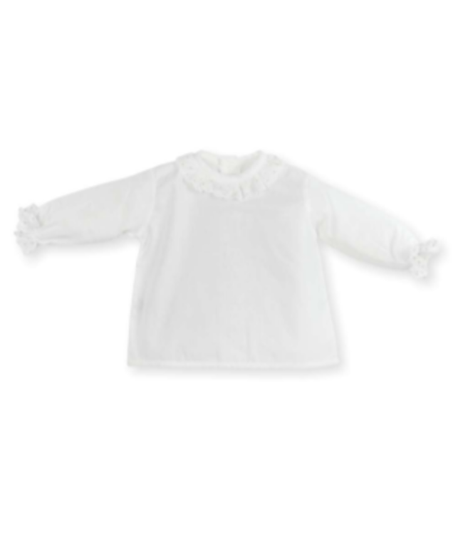 MAC ILUSION Wit bloesje met doorzichtig kraagje en gouden details
