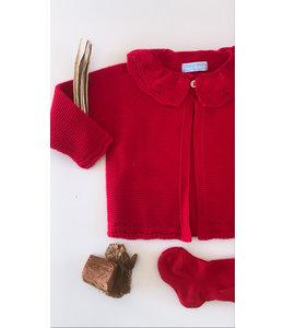 MAC ILUSION Cardigan  with fine collar RED