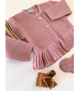 MAC ILUSION Woven cardigan with cute details Old Rose