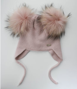 Soft knitted hat with double pompom and drawstrings OLD PINK