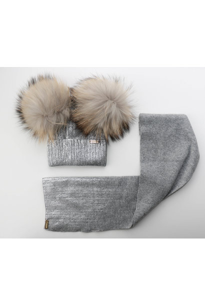 Grey foil print double pom hat and matching scarf