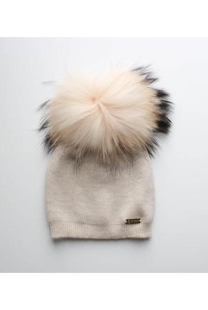 Camel hat with faux fur pompon