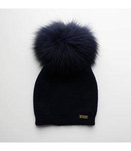 BOBBLE BABIES Dark blue hat with faux fur pompon