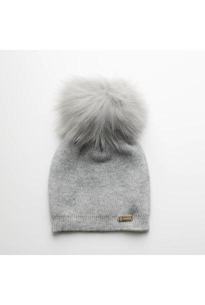 Light grey hat with faux fur pompon
