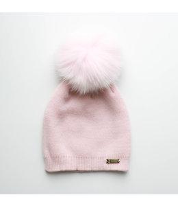 BOBBLE BABIES Pink hat with faux fur pompon