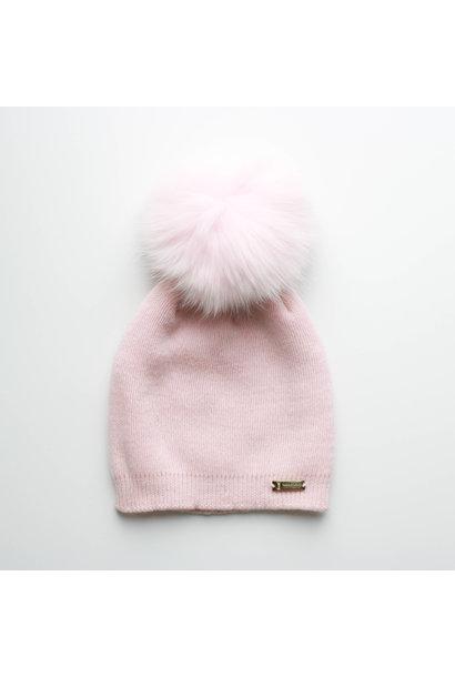 Pink hat with faux fur pompon