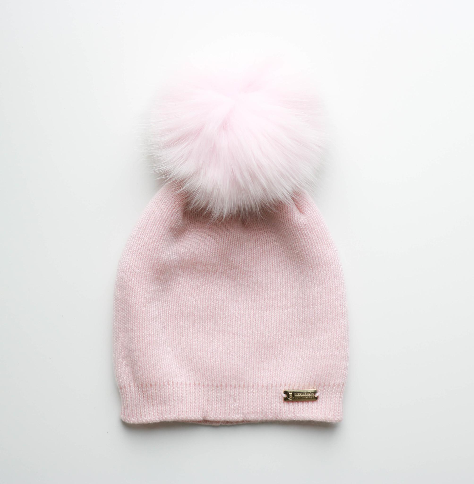 Roze muts met faux  fur pompon-1