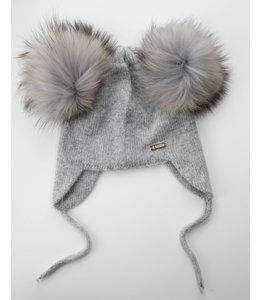 Soft knitted hat with double pompom and drawstrings  GREY