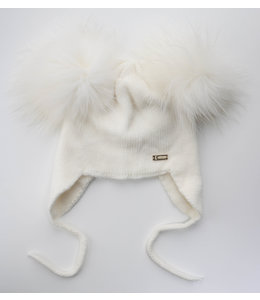 Soft knitted hat with double pompom and drawstrings BEIGE