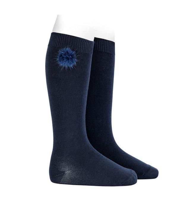 CONDOR  CONDOR   Knee socks with pompon Navy Blue