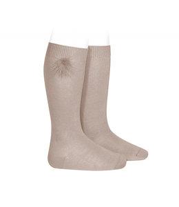 CONDOR  Knee socks with pompon Stone
