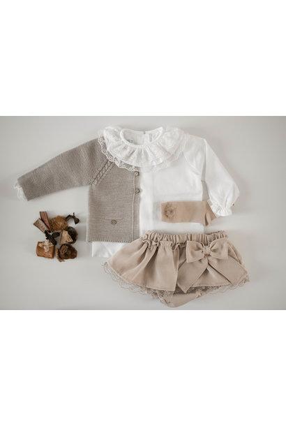 Witte blouse met dubbele kraag